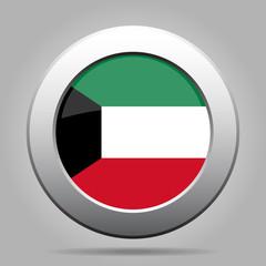 Flag of Kuwait. Shiny metal gray round button.