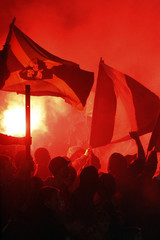 Girondin Bordeaux supporters celebrate during the French Ligue 1 soccer match against Le Havre in Bordeaux