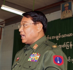 Myanmar's Information Minister Brigadier General Kyaw Hsan speaks in Yangon