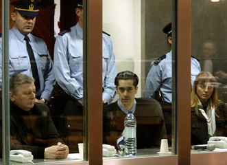(LtoR ) Belgians Michel Nihoul, Michel Lelievre and Michelle Martin, wife of Belgian convicted child..
