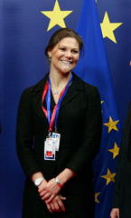 Sweden's Crown Princess Victoria smiles at the start of a European Union Heads of State and Government at a EU summit in Brussels
