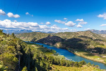 Landscape with river Ebro in Spain