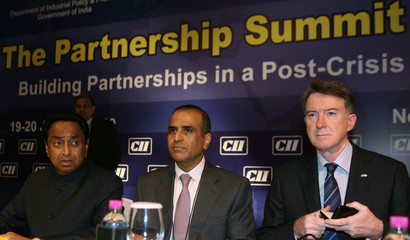 India's Commerce and Industry Minister Nath, Bharti Chairman Mittal and Britain's Business Secretary Mandelson attend summit in New Delhi
