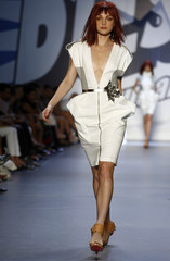 A model presents a creation from the Diesel Spring 2008 collection during New York Fashion Week
