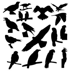 Flying Bird and Perching Bird Icon silhouette logo