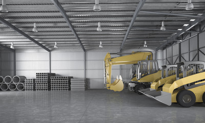 3d rendering warehouse with tractor and logistic concept and material construction