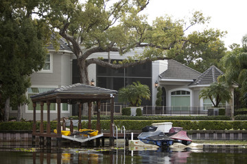 Tiger Woods' home as seen from the water in the Isleworth subdivison in Windermere, Florida