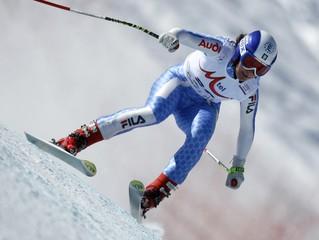 Merighetti of Italy speeds down during the Alpine Skiing World Cup women's downhill at the Bulgarian ski resort of Bansko