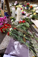 "PICTURE OF GEORGE HARRISON IN STRAWBERRY FIELDS ""IMAGINE"" CIRCLE."