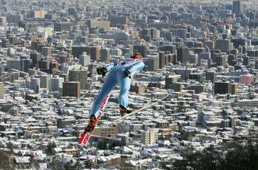 Kim of South Korea soars over Sapporo during the FIS World Cup Ski Jumping
