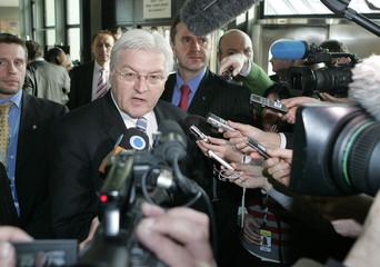 German Foreign Minister Steinmeier briefs the media in Vienna