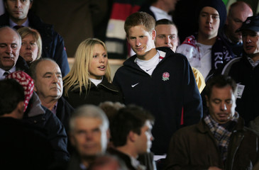 Britain's Prince Harry chats with Zara Phillips, daughter of the Princess Royal, following England's ...