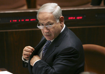 Israel's Prime Minister Benjamin Netanyahu attends a non-confidence vote at the Knesset in Jerusalem