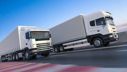 Commercial Delivery Trucks on the Move