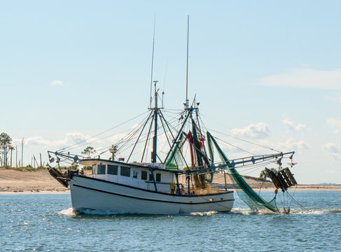 Shrimp trawler fishing boat in St George Island Florida Gulf of Mexico