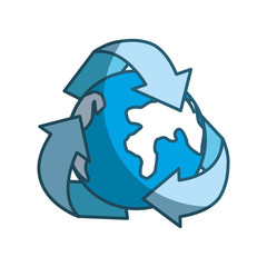 blue earth planet inside of recycling symbol