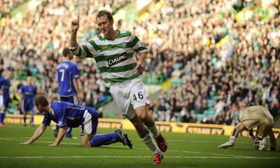 Celtic's Aiden McGeady celebrates his goal against Kilmarnock during their Scottish Premier League soccer match at Celtic Park, Glasgow, Scotland