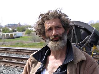 James Donaldson Jr. near homeless camp in Sacramento, California