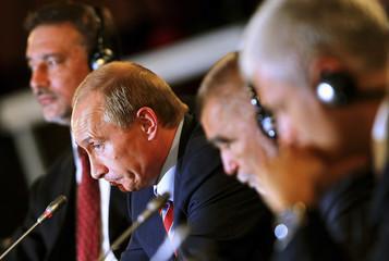 Russian President Vladimir Putin addresses the Energy Summit of Southeast European Countries in Zagreb
