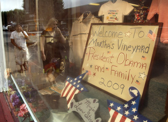 A storefront sign welcomes U.S. President Barack Obama and his family to Martha's Vineyard