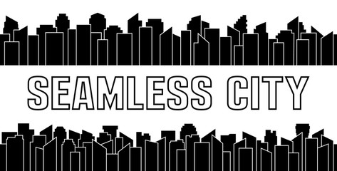 Set of black seamless city silhouette. Urban and sky scraper. Vector illustration.