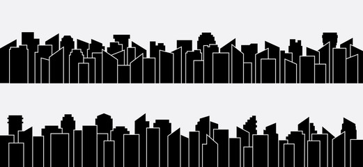 Black city silhouette panorama set. Vector design.