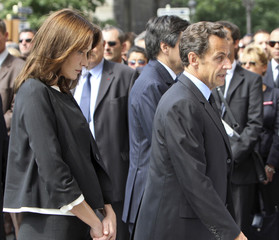 France's President Sarkozy arrives at the Notre-Dame Cathedral in Paris for an ecumenical church service for relatives and families of the passengers of Air France crash