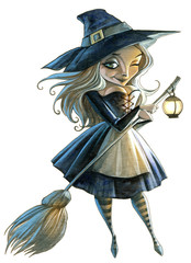 Halloween cartoon hand drawn illustration with a beautiful witch isolated on white