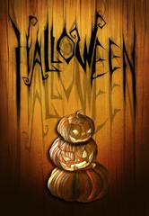 Halloween background illustration with pumpkins