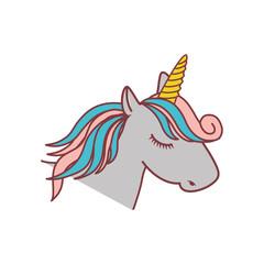 magical unicorn icon over white background. colorful design. vector illustration