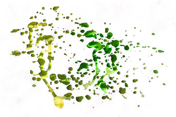 Colorful green and yellow watercolor background for wallpaper. Aquarelle bright color illustration