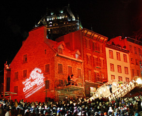 Competitors skate during the Red Bull Crashed Ice competition in Quebec City