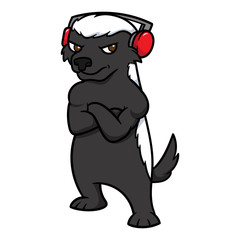 Cartoon Honey Badger Wearing Headphones Vector Illustration