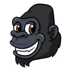 Friendly Cartoon Gorilla Smiling Vector Illustration