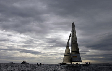 Team French Spirit sails during the first day of the Louis Vuitton Trophy in Nice