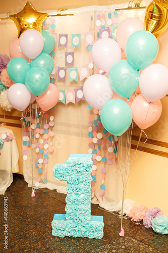 Birthday Party For Child One Years Old Pink Mint And White Colors Stylish