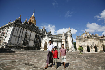Boys walk through the grounds of the newly renovated Ananda temple in the ancient capital of Bagan