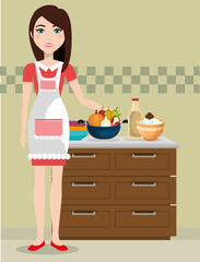 cute woman cooking in the kitchen vector illustration design
