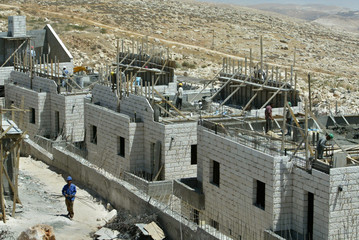 Construction site in new neighbourhood in the Adam Jewish settlement near Jerusalem.