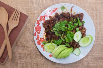 Thai homemade, food stir fried pork with sugar