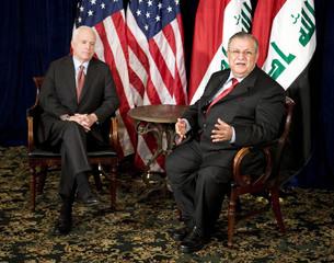 Republican presidential candidate U.S. Senator John McCain meets with Iraqi President Jalal Talabani at a hotel in Washington