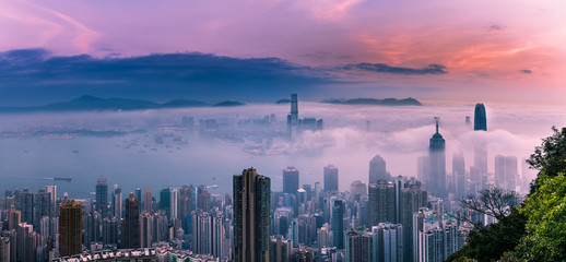 Misty City and Harbor at Sunrise - Victoria Harbor of Hong Kong Fotomurales