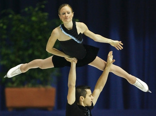 Croatia's Ireland and Bahoric perform during their pairs Short Program of the European Figure Skating Championships in Zagreb