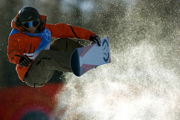 Spain's Castellet trains during a practice session in the half pipe snowboarding competition at the Winter Olympic Games