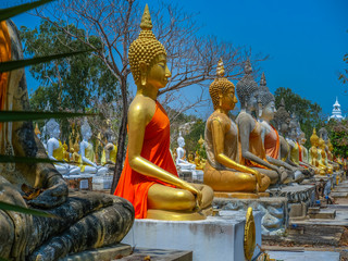several statues of Buddha posture