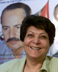 LAILA KHALED OF THE PFLP SPEAKS TO REPORTERS IN AMMAN.