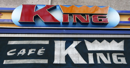 """The logo of """"King cafe"""" is pictured in Berlin"""