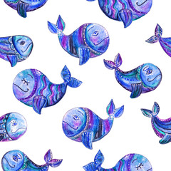 Hand drawn seamless pattern (tiling) with whales. Watercolor painting of a blue whales with decoration of a flowers, dots. Isolated objects on a white background. Perfect for textile design.