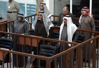 Saddam's co-defendants appear at Saddam Hussein's trial held under tight security in Baghdad's heavily fortified Green Zone