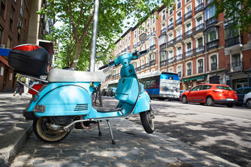 Vintage scooter on city street